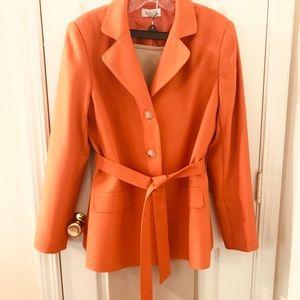 Isabella Orange and Tan Pantsuit w/Belted Jacket